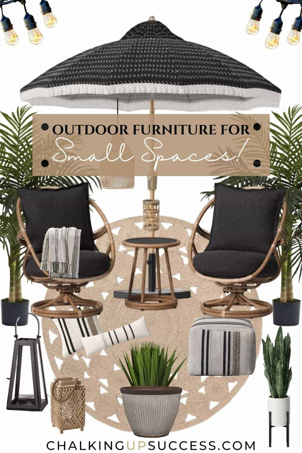 This outdoor furniture for small spaces includes a set of two rocking chairs and a side table. There is a beige coloured jute rug and a black sun umbrella with a fringed edge. Plants and lanterns complete this design.