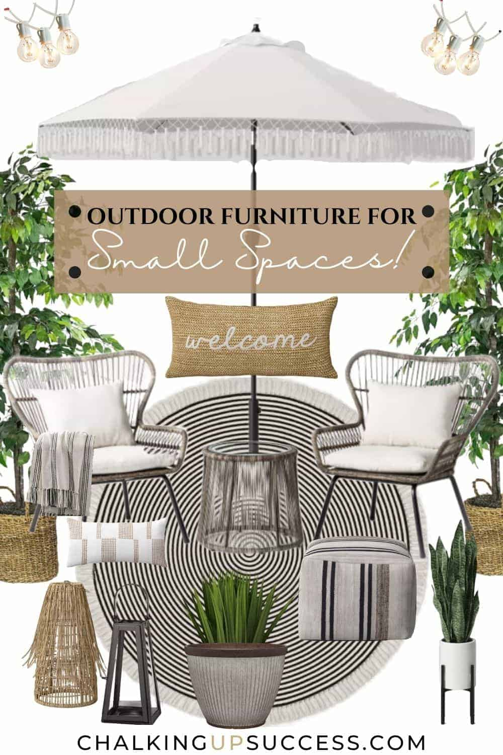 This outdoor furniture for small spaces includes a conversation seating set with table in grey rattan for a boho look. Over the seating area is a white sun umbrella with a white fringe. The round black and off white rug with concentric circles complements the boho style.