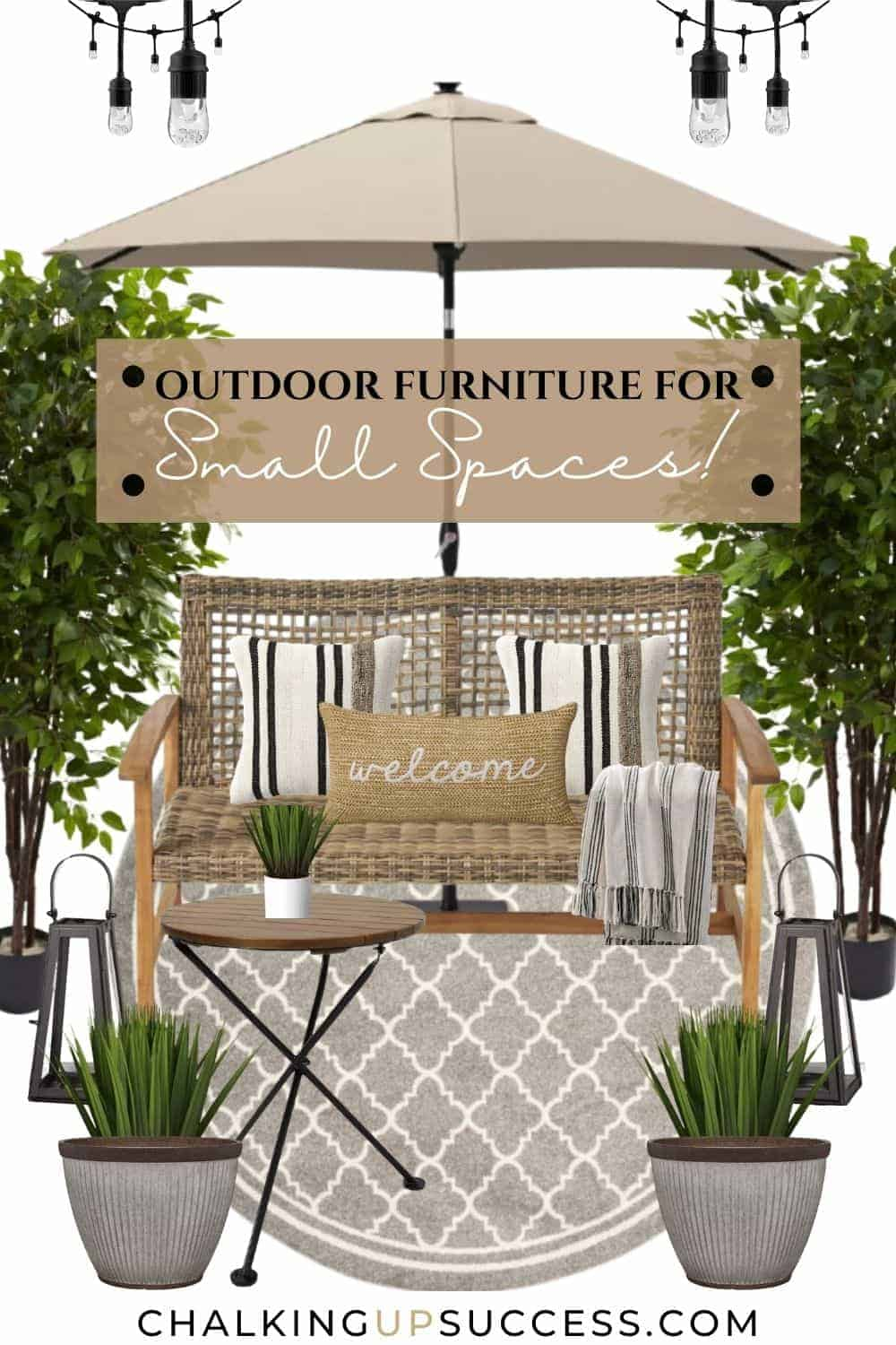 This outdoor furniture for small spaces includes a low-back loose weave wicker loveseat on a round beige rug in geometric (damask) design. Over the loveseat is a beige sun umbrella. The loveseat is surounded by plants and lanterns.