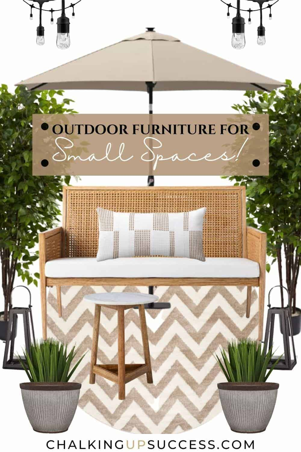 This outdoor furniture for small spaces includes a low-backed rattan loveseat with a long white seat cushion. A lumbar pillow in white and tan geometric design rests on the seat. Under the loveseat is a round cream and tan coloured chevron rug. Plants and large faux green trees suround the loveseat.