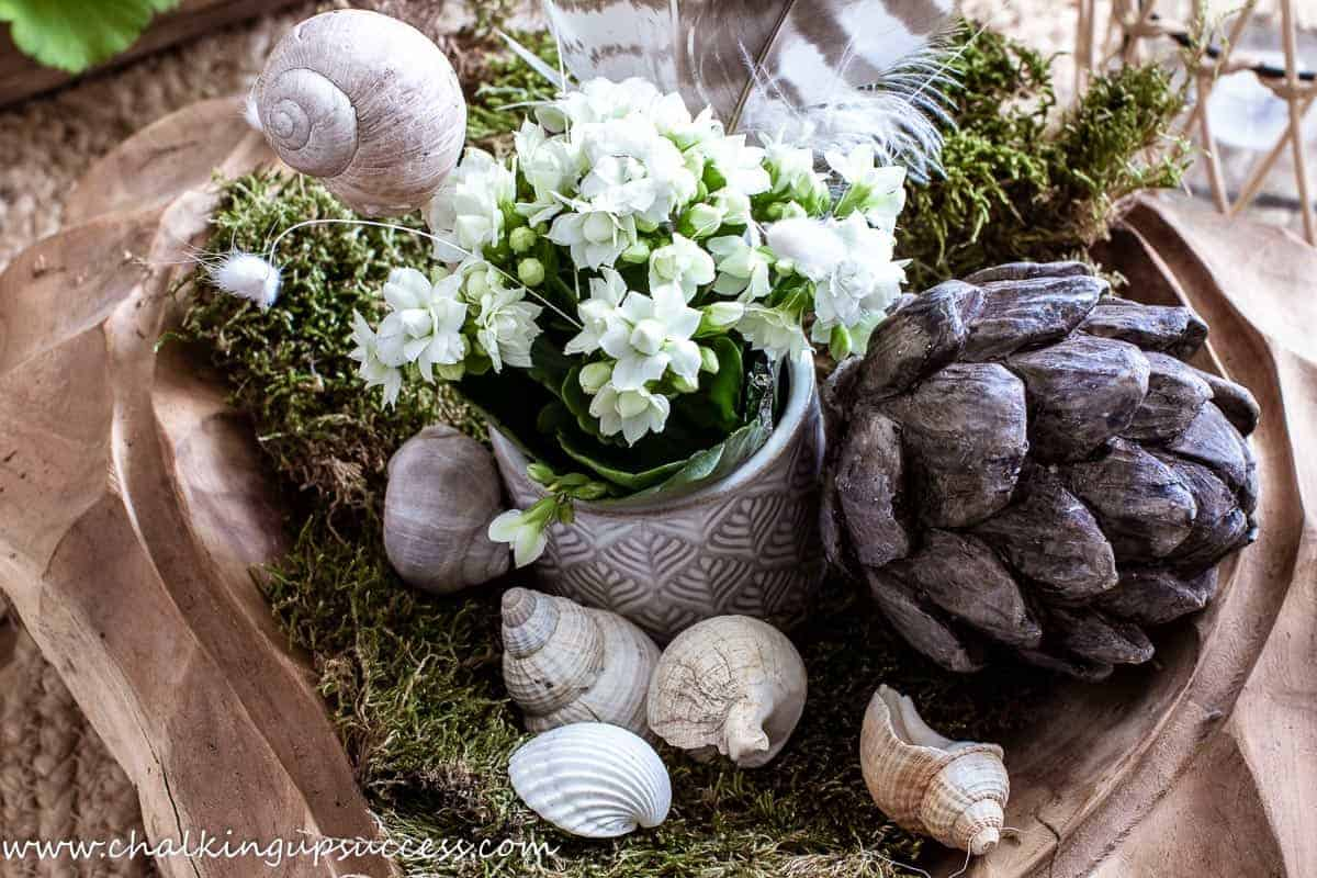 A wooden bowl, filled with a wooden artichoke, a small plant, seashells, feather and moss