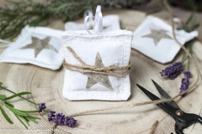 Square white lavender bags with a beige linen star - - crafts and DIYs for adults and teens