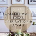 A gallery wall with architectural prints of buildings and close-ups of flowers. Photos are black and white.