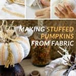 Fabric pumpkins decorated with twigs, ribbon, a raffia bow and a tassel.