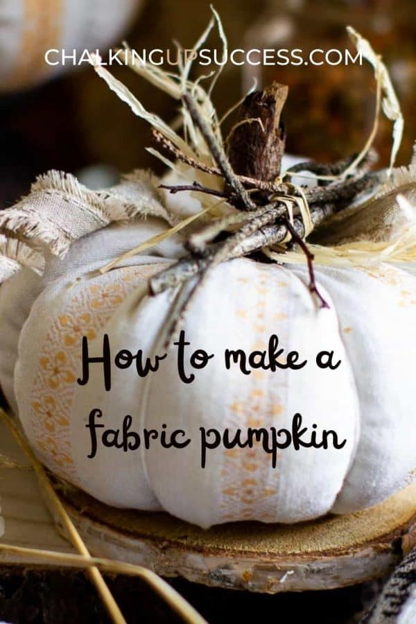 A fabric pumpkin decorated with twigs and ribbon