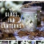 Step by step images for making glass jar lanterns made with pressed flowers.