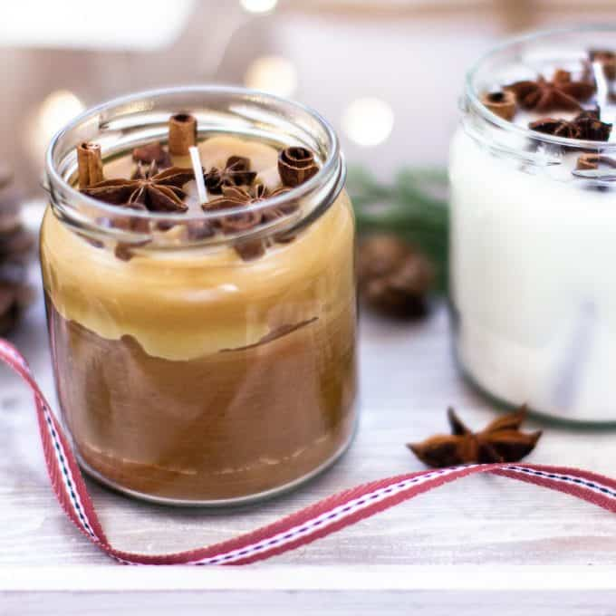 A DIY cinnamon candle made with beeswax and natural cinnamon.