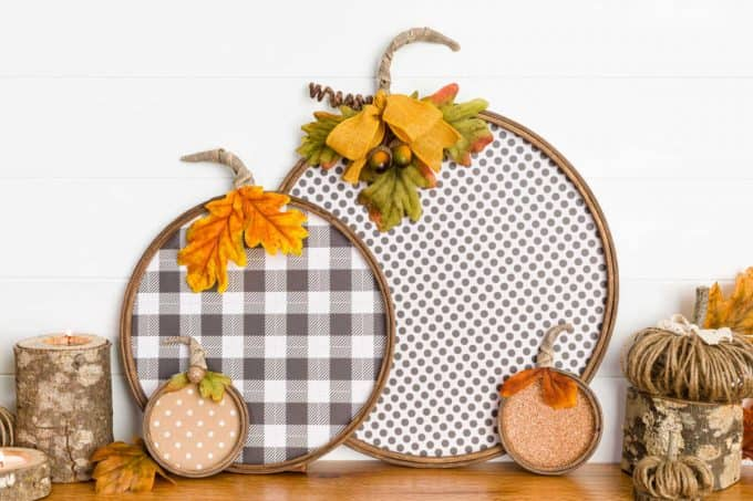 Paper pumpkins with embroidery hoops