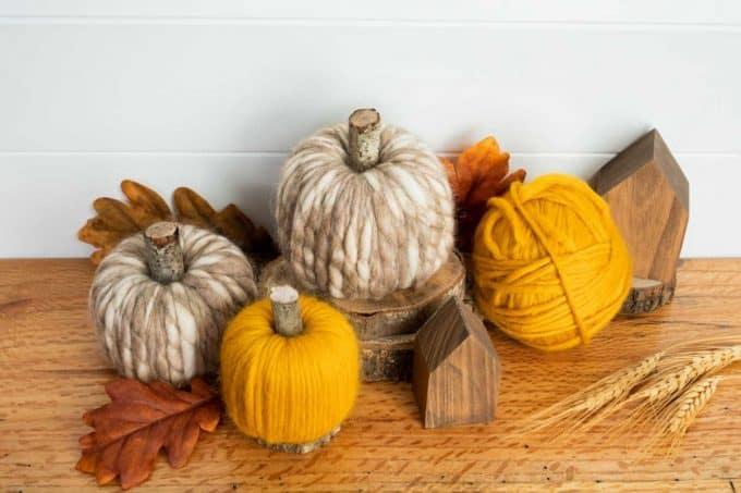 Yarn wrapped pool noodle pumpkins
