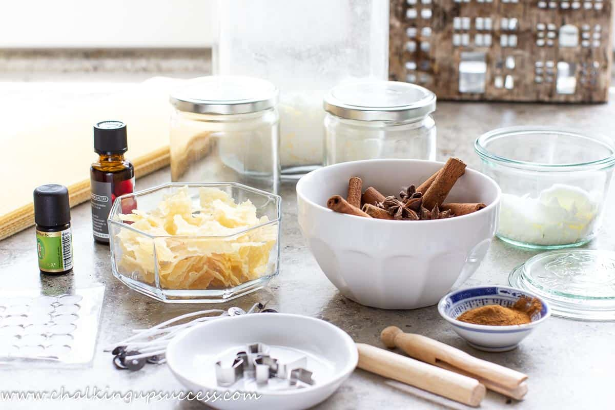 Supplies needed for making a DIY cinnamon candle.