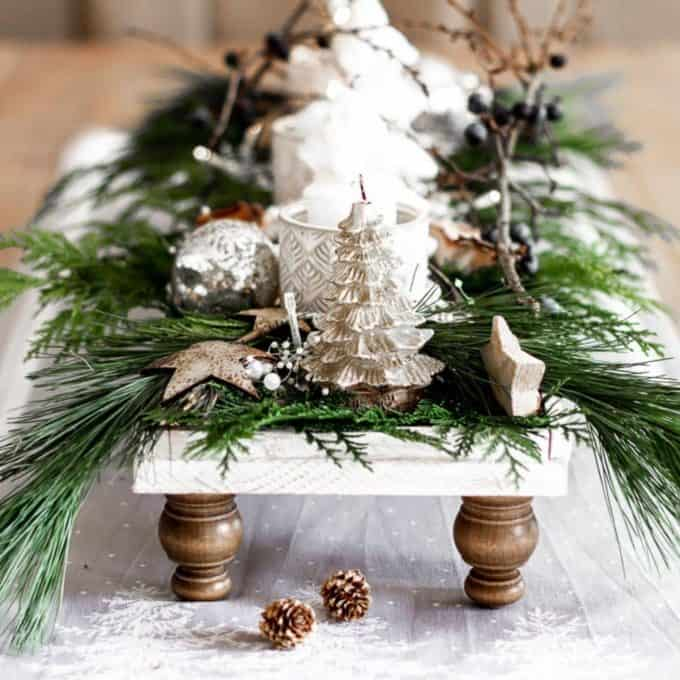 A footed tray decorated for Christmas