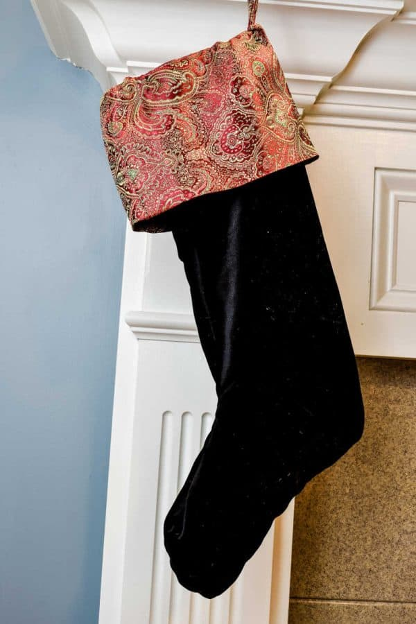 A velvet stocking with paisley cuff