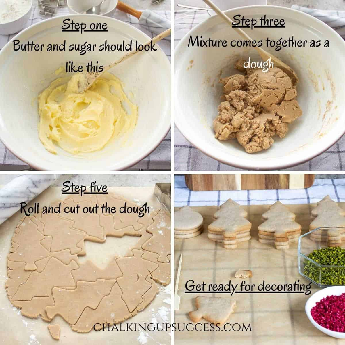 Chocolate-dipped Christmas tree cookies - collage of process photos for making cookie dough