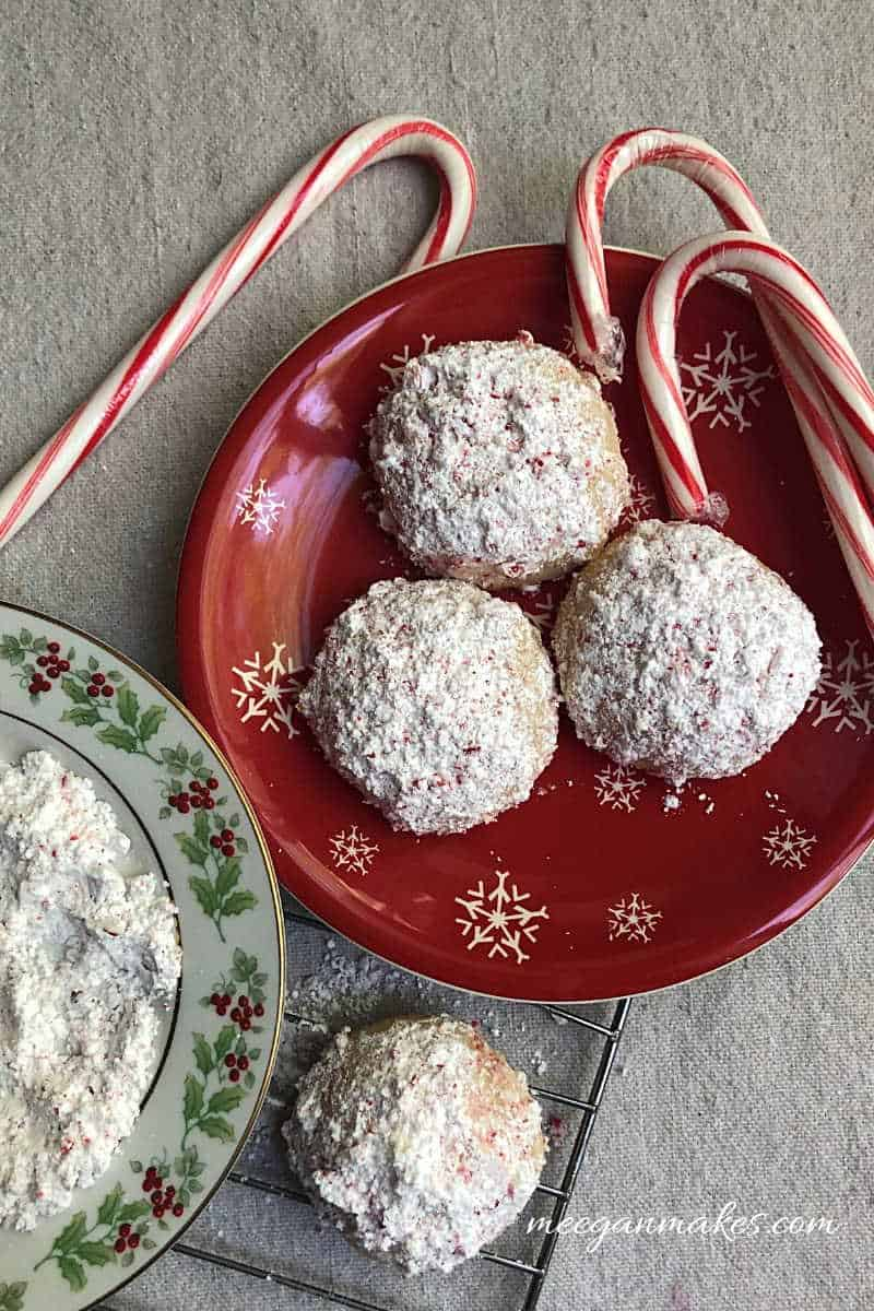 Peppermint snowball cookies on a plate