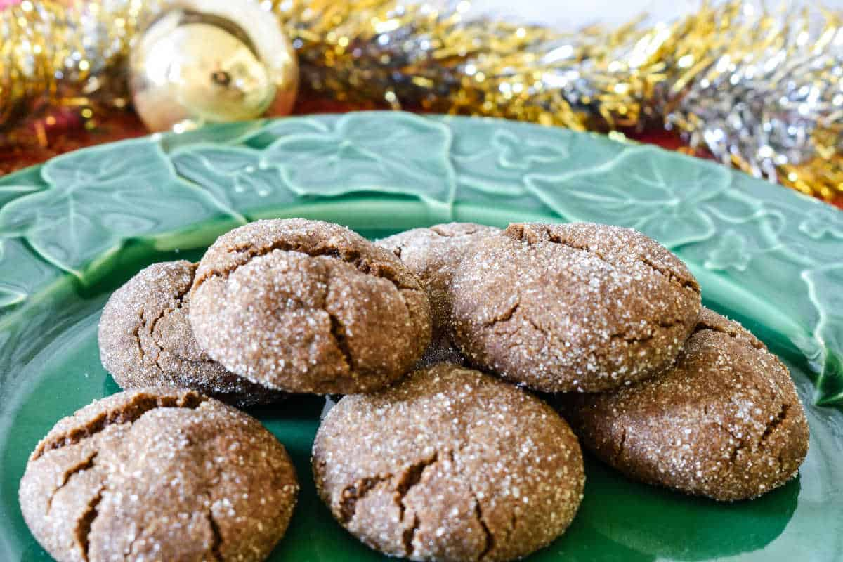 Ginger snap cookies on a plate